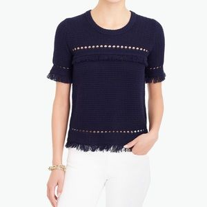 J.Crew Factory Short Sleeve Fringe Sweater